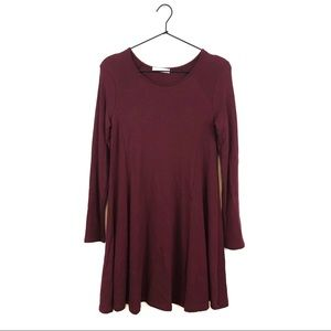 Lush Burgundy Long Sleeve Swing Dress
